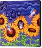 Sunflowers And Faeries Canvas Print by Genevieve Esson