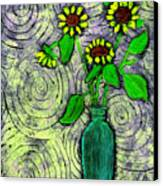 Sunflowers In A Green Vase Canvas Print