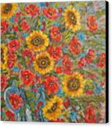 Sunflowers In Blue Pitcher. Canvas Print