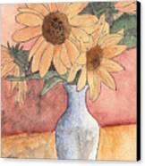 Sunflowers In Vase Sketch Canvas Print
