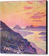 Sunset At Ambleteuse Pas-de-calais Canvas Print by Theo van Rysselberghe