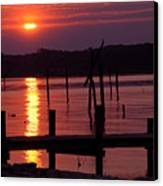 Sunset At Colonial Beach Canvas Print