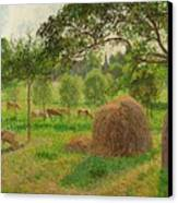 Sunset At Eragny Canvas Print by Camille Pissarro
