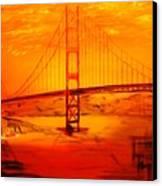 Sunset At Golden Gate Canvas Print