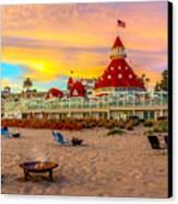 Sunset At Hotel Del Coronado Canvas Print