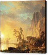 Sunset In The Rockies Canvas Print by Albert Bierstadt