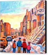 Sunset On Hotel De Ville Street Montreal Canvas Print