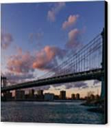Sunset On Manhattan Bridge Canvas Print by Dick Wood