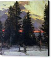 Sunset Over A Winter Landscape Canvas Print by Abram Efimovich Arkhipov