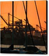 Sunset Over Alameda Harbor Canvas Print
