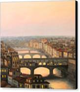 Sunset Over Ponte Vecchio In Florence Canvas Print by Kiril Stanchev