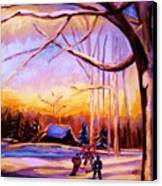 Sunset Over The Hockey Game Canvas Print
