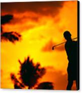 Sunset Silhouetted Golfer Canvas Print