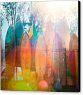 Surfboards Sun Flare Canvas Print by Monica and Michael Sweet