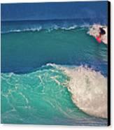 Surfer At Aneaho'omalu Bay Canvas Print by Bette Phelan