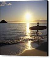 Surfer At Sunrise Canvas Print by Ali ONeal - Printscapes