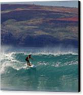 Surfer Surfing The Blue Waves At Dumps Maui Hawaii Canvas Print