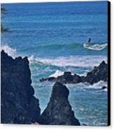 Surfing The Rugged Coastline Canvas Print