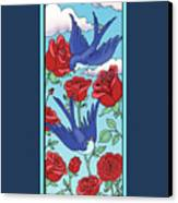 Swallows And Roses Canvas Print