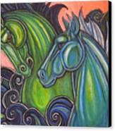 Swimming Horses  Canvas Print