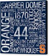 Syracuse College Colors Subway Art Canvas Print