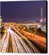 Taipei Light Trails At Night Canvas Print by © copyright 2011 Sharleen Chao
