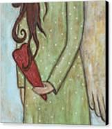 Tall Angel With Heart Canvas Print by Rain Ririn