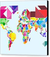 Tangram Abstract World Map Canvas Print by Michael Tompsett