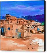 Taos Pueblo Village Canvas Print by Elise Palmigiani