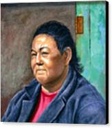 Taos Pueblo Woman Canvas Print