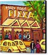Tasty Food Pizza On Decarie Blvd Canvas Print