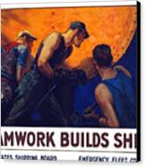 Teamwork Builds Ships Canvas Print by War Is Hell Store