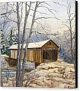 Teegarden Covered Bridge In Winter Canvas Print