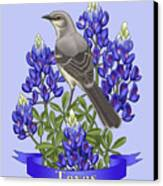 Texas State Mockingbird And Bluebonnet Flower Canvas Print by Crista Forest