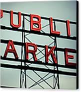 Text Public Market In Red Light Canvas Print by © Reny Preussker