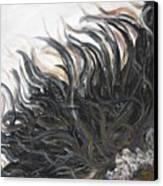 Textured Black Sunflower Canvas Print