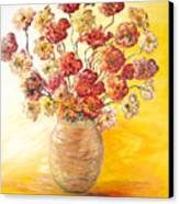 Textured Flowers In A Vase Canvas Print