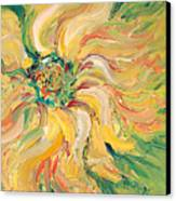 Textured Green Sunflower Canvas Print