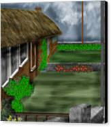 Thatched Roof Cottages In Ireland Canvas Print