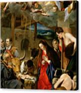 The Adoration Of The Shepherds Canvas Print by Fray Juan Batista Maino or Mayno