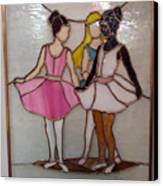 The Ballet Dancers In Stained Glass Canvas Print by Arlene  Wright-Correll