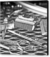 The Barber Shop 10 Bw Canvas Print by Angelina Vick
