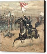 The Battle Of Cedar Creek Virginia Canvas Print by Thure de Thulstrup