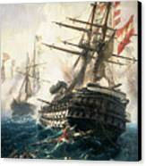 The Battle Of Lissa Canvas Print by Constantin Volonakis