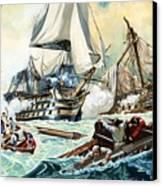 The Battle Of Trafalgar Canvas Print by English School