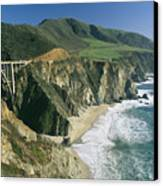The Beach And Shoreline Along Highway 1 Canvas Print by Phil Schermeister