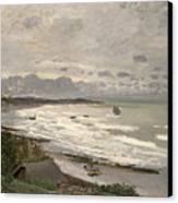 The Beach At Sainte Adresse Canvas Print by Claude Monet