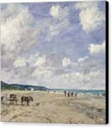 The Beach At Tourgeville Canvas Print by Eugene Louis Boudin