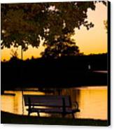 The Bench By The Lake Canvas Print by Danielle Allard