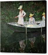 The Boat At Giverny Canvas Print by Claude Monet